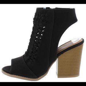 💖 Black ankle zip chunky block heel